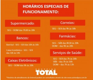 Horário de funcionamento do Shopping TOTAL
